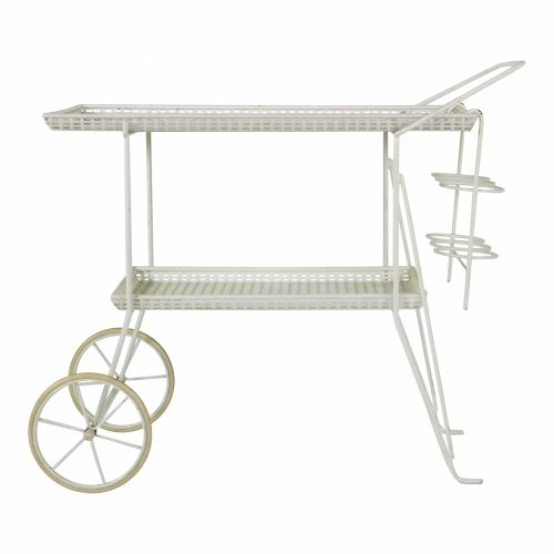 White perforated metal serving trolley