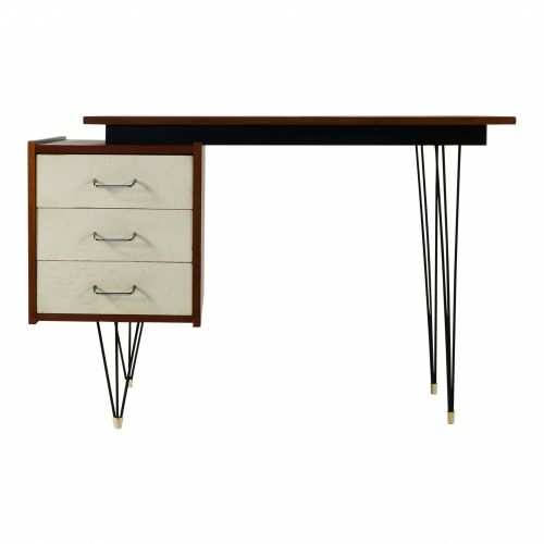Dutch design small desk with hairpin legs