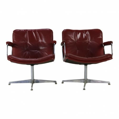 Two leather lounge chairs by Geoffrey Harcourt