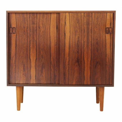 Small rosewood cabinet with sliding doors
