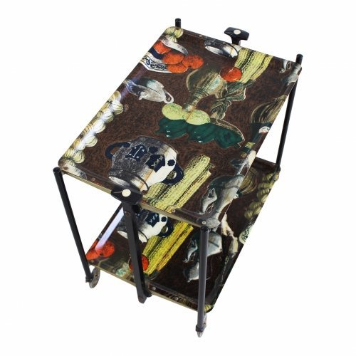 Foldable serving trolley with fifties print