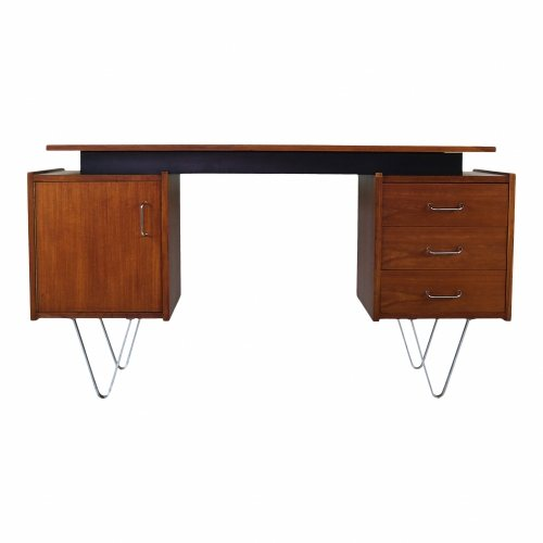 Dutch design desk with steel hairpin legs