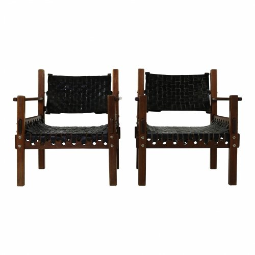 Two armchairs with leather webbing in Brazilian style
