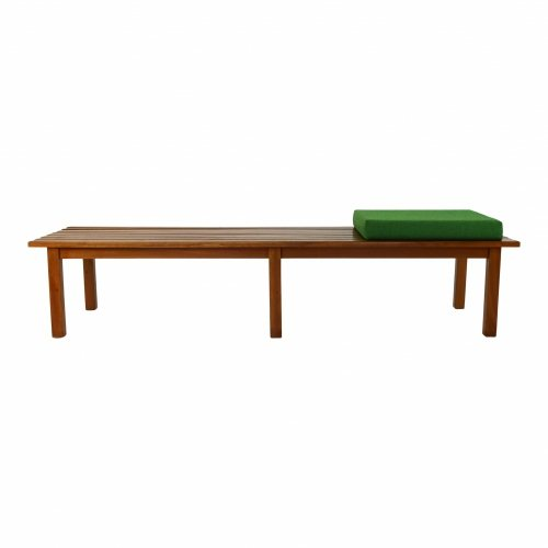 Mid century wooden eight slat bench