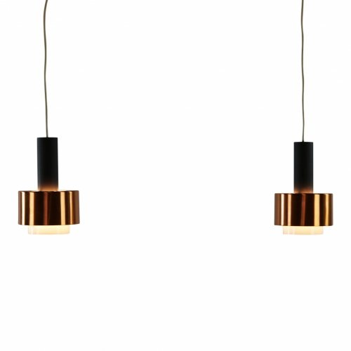 Set of two metal pendant lamps with brass