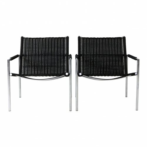 Martin Visser black wicker lounge chairs