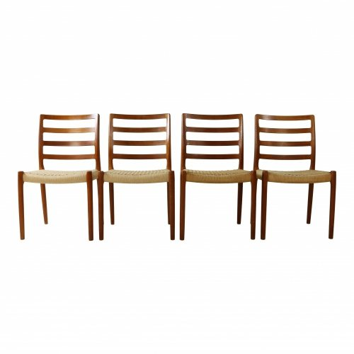 Four danish design teakwood dining chairs by Niels Møller
