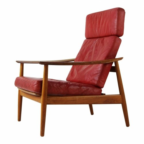 Arne Vodder leather easy lounge chair for France and Son