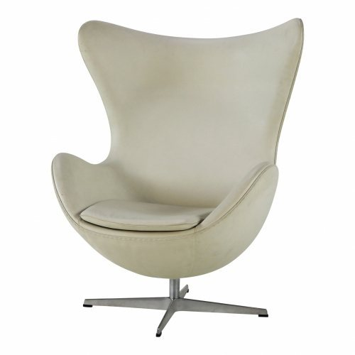 Fritz Hansen white leather egget chair designed by Arne Jacobsen