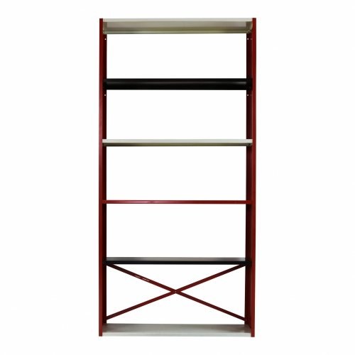 Metal bookshelf in white red and black
