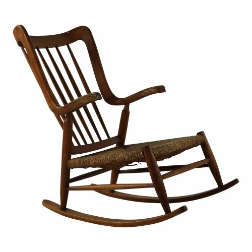 Sixties organic designed oak rocking chair