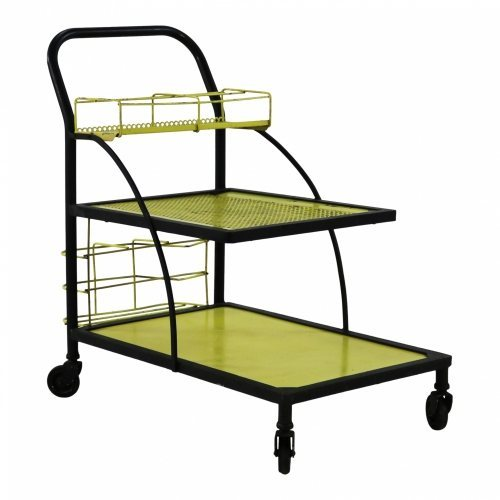 Sixties yellow black serving trolley
