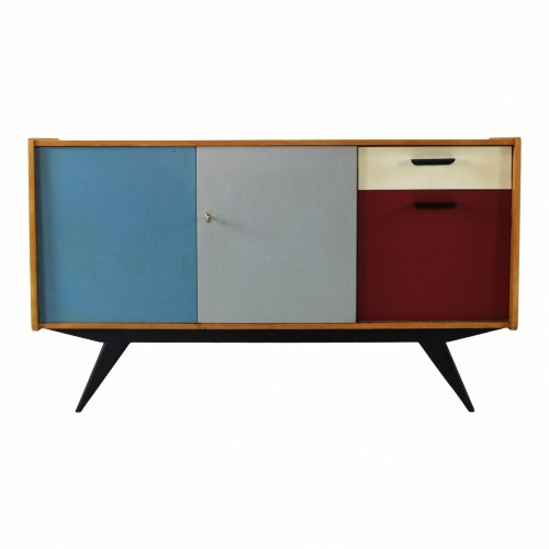 Beautiful colored fifties Dutch design sideboard