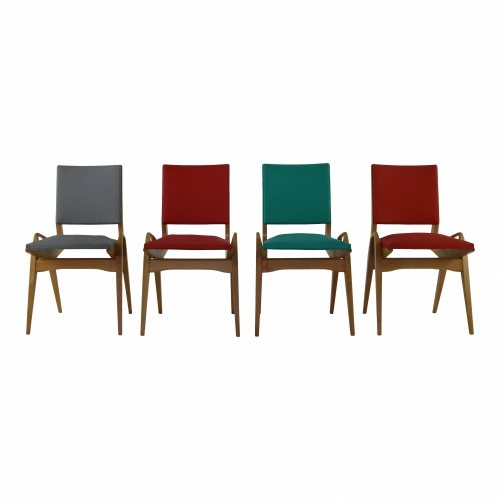 Stunning colored sixties dining chairs attributed to Carlo di Carli Italy