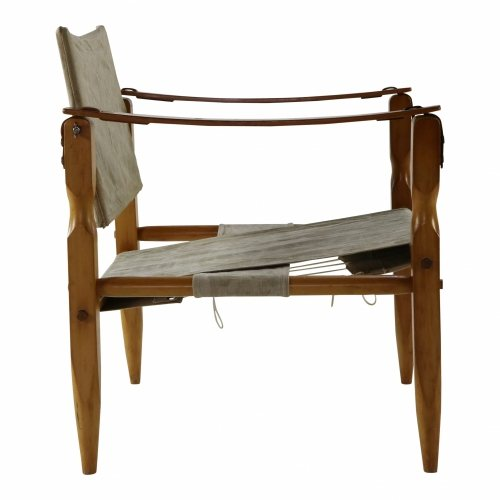 Danish design safari chair with wooden armrests