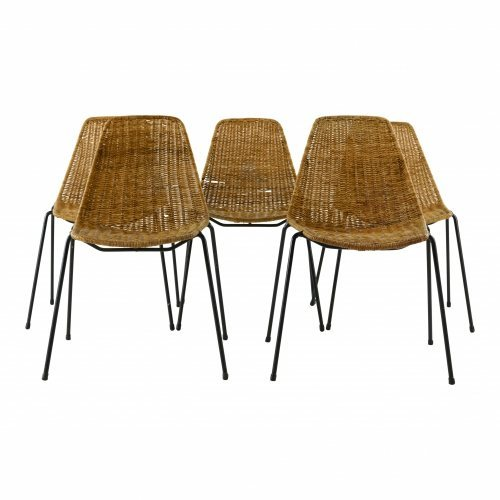 Five rattan chairs by Gian Franco Legler