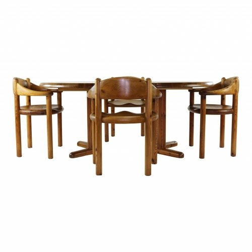 Complete dining set with 4 chairs by Reiner Daumiller
