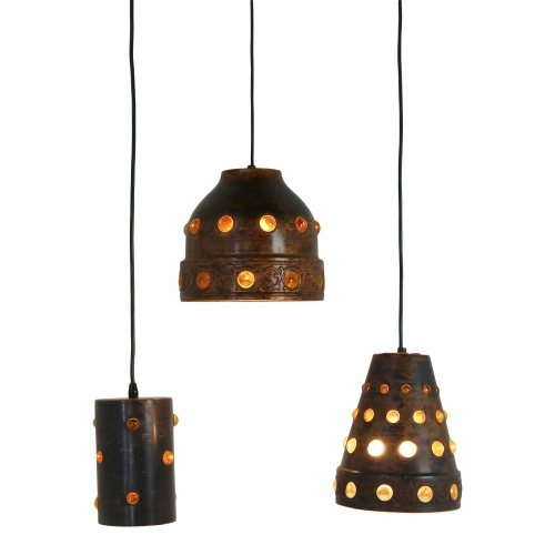 Sixties three metal /glass ceiling lamps by Peill and Putzler Germany