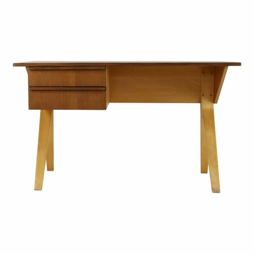 Cees Braakman birchwood and teak desk for UMS Pastoe