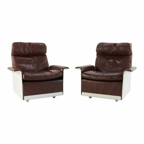 Dieter Rams lounge chairs in brown leather Vitsoe