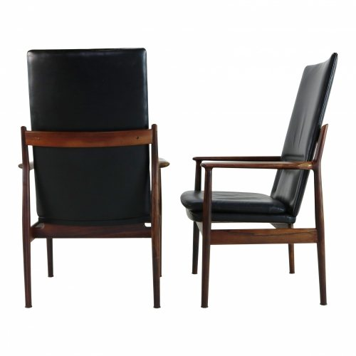 Two very elegant armchairs in rosewood by Arne Vodder for Sibast Denmark