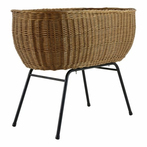 Dutch design rattan crib with a black metal base