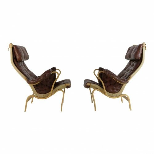 Set of two Pernilla chairs in leather Bruno Mathsson for Dux Sweden