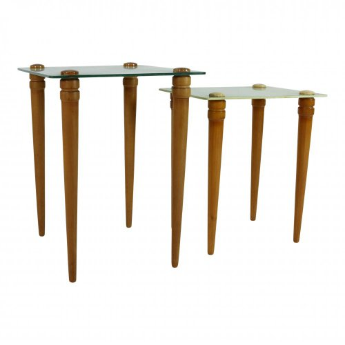 Set of two wooden side table with glass top
