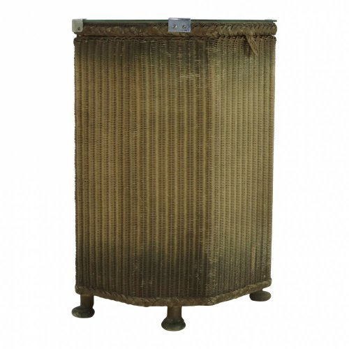Lloyd Loom laundry basket with glass top