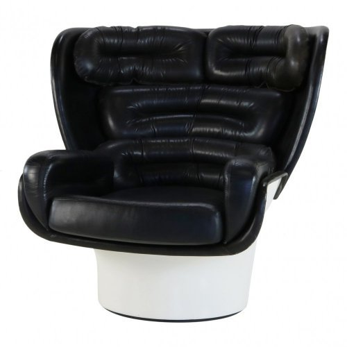 Joe Colombo black and white Elda chair for Comfort Italy
