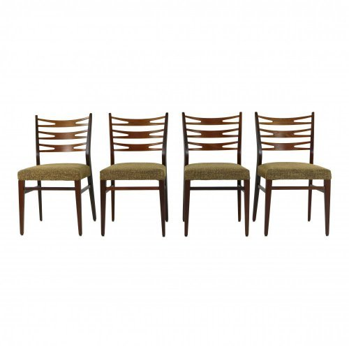 Danish design dining chairs in teak and beech