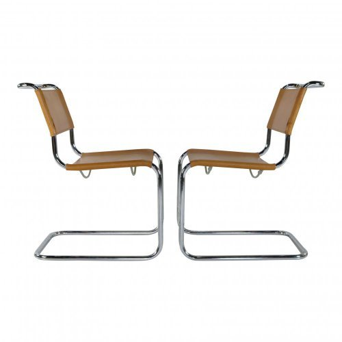 Marcel Breuer leather cantilever chairs for Thonet