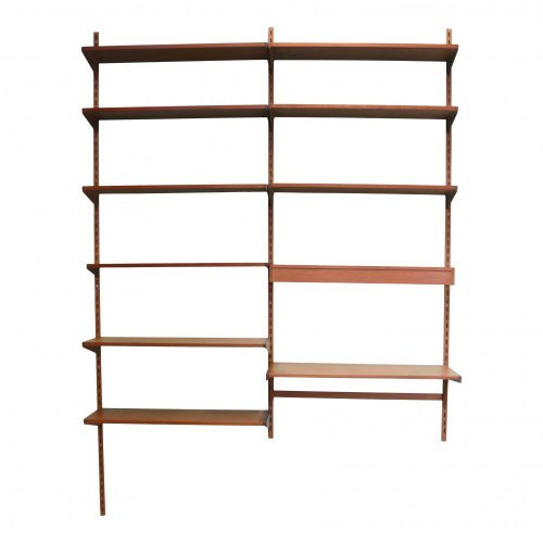 Kai Kristiansen wall system book case with writing shelf and lighting