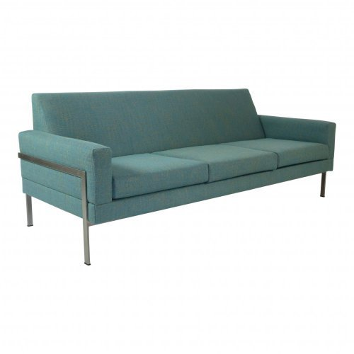Elegant minimalistic sixties three seater sofa with metal frame in one piece