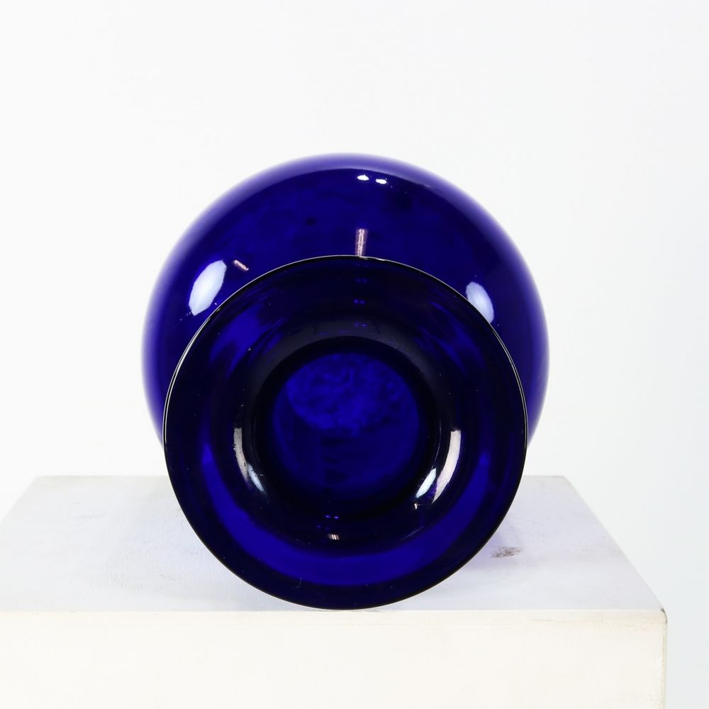 Largest blue glass vase by Otto Brauer for Holmegaard