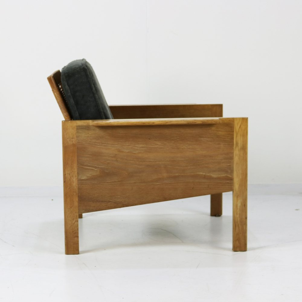 Danish design easy chair with cane woven back