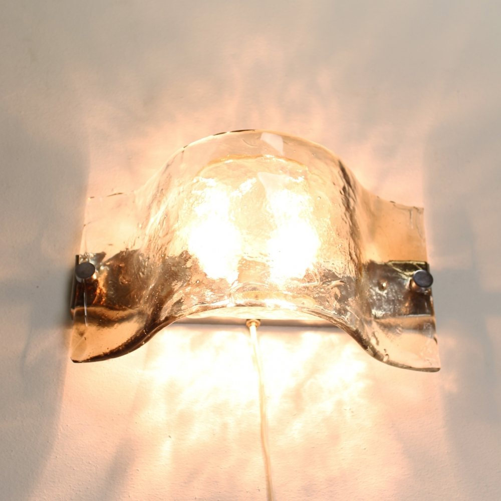 Frosted Iced glass wall lamp by Carlo Nason