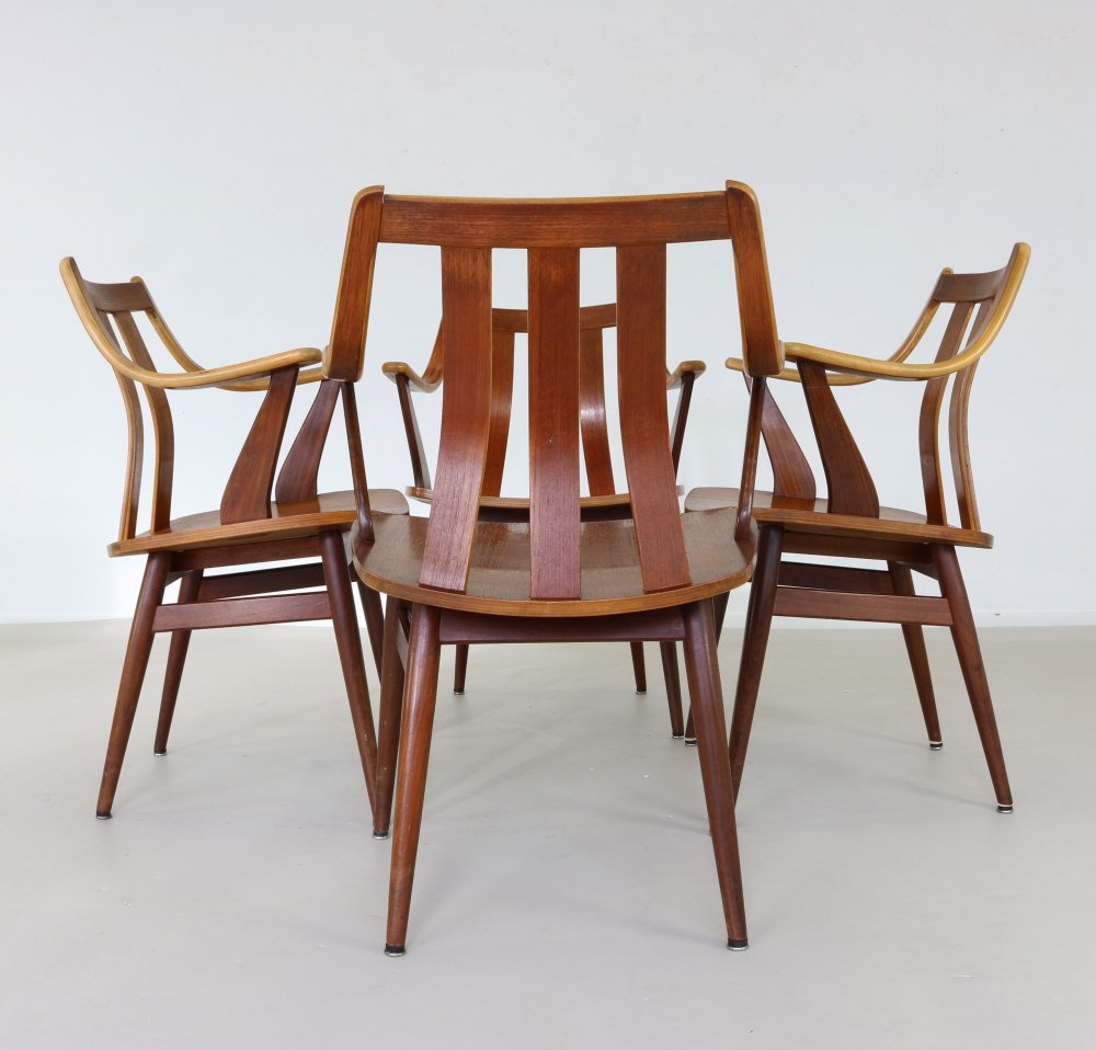 Set of four Dutch design dining chairs