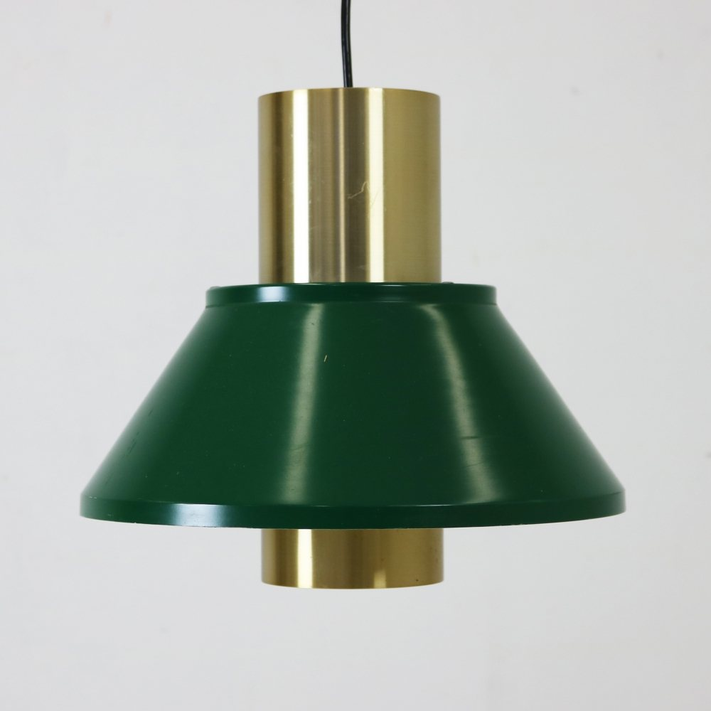 Danish pendant lighting in green and brass metal