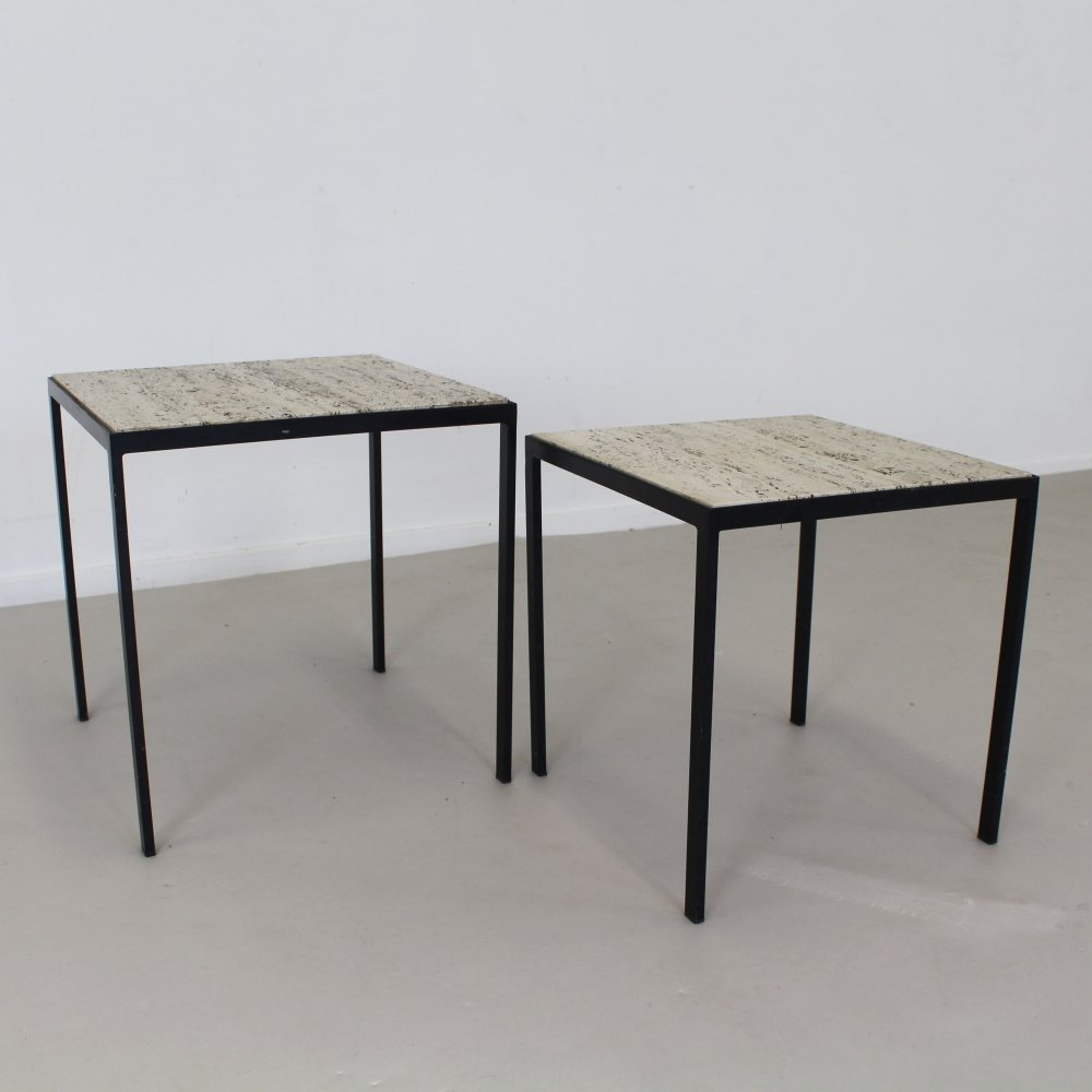 Set of two side tables with travertine