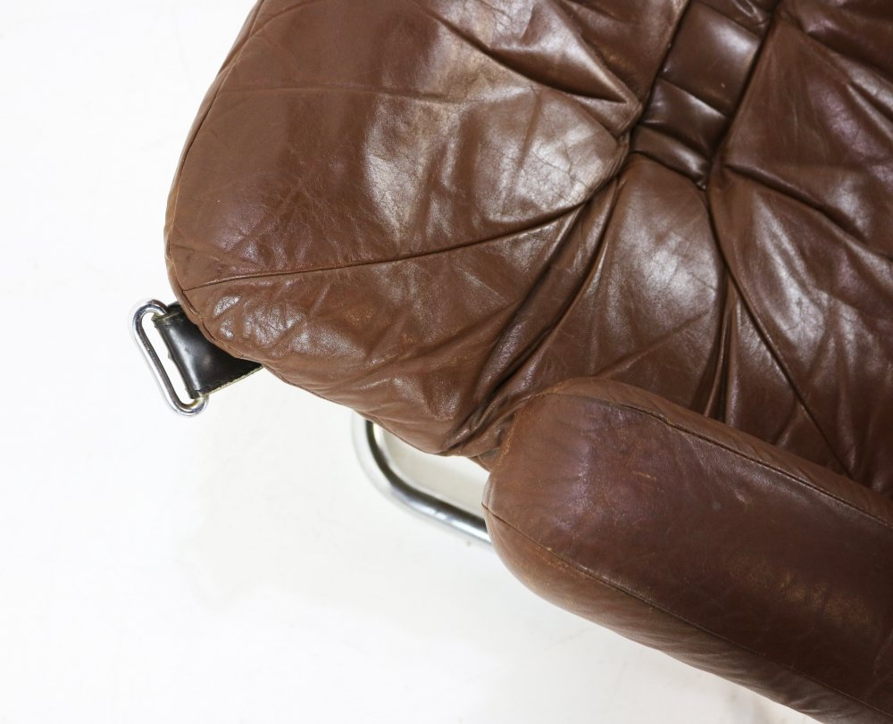 Brown leather sling chair by Ingmar Relling