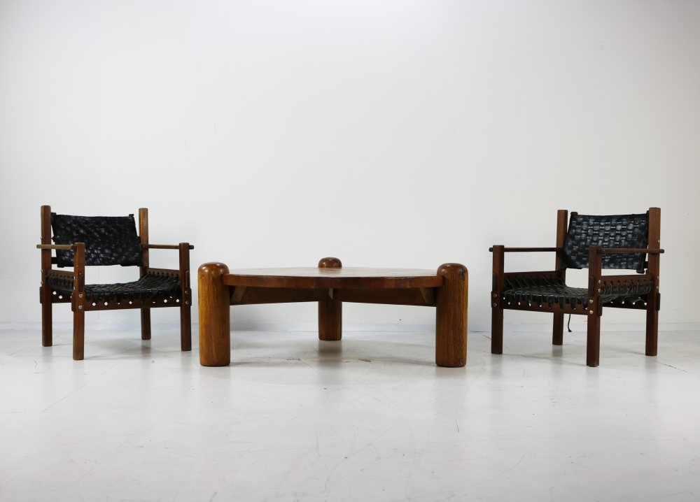 Large brutalist coffee table Charlotte Perriand style