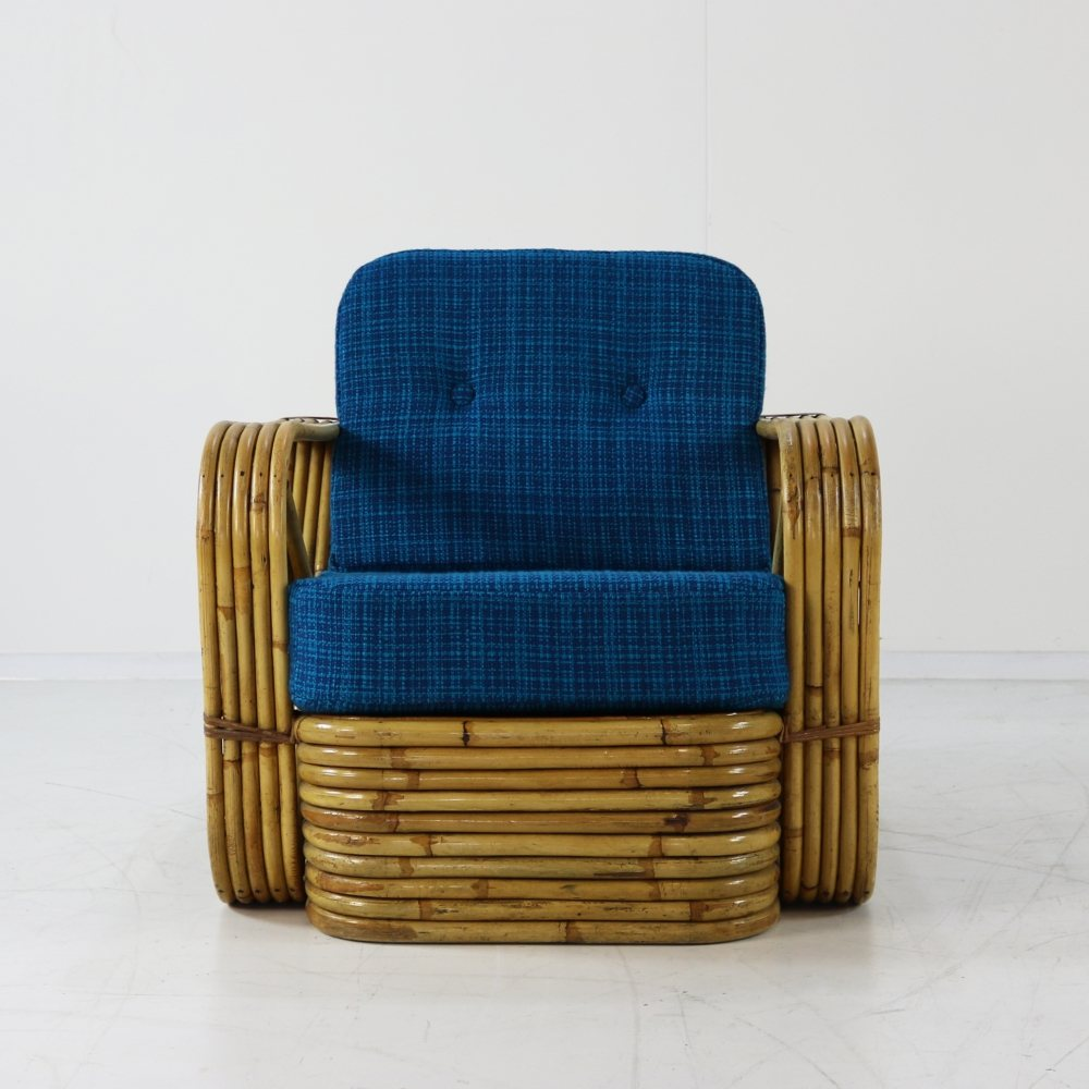 Incredible rattan lounge chair by Paul Frankl
