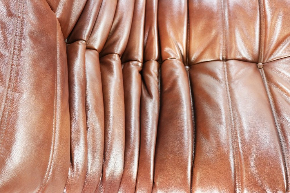 Full suite of Togo seating group in brown leather design by Michel Ducaroy