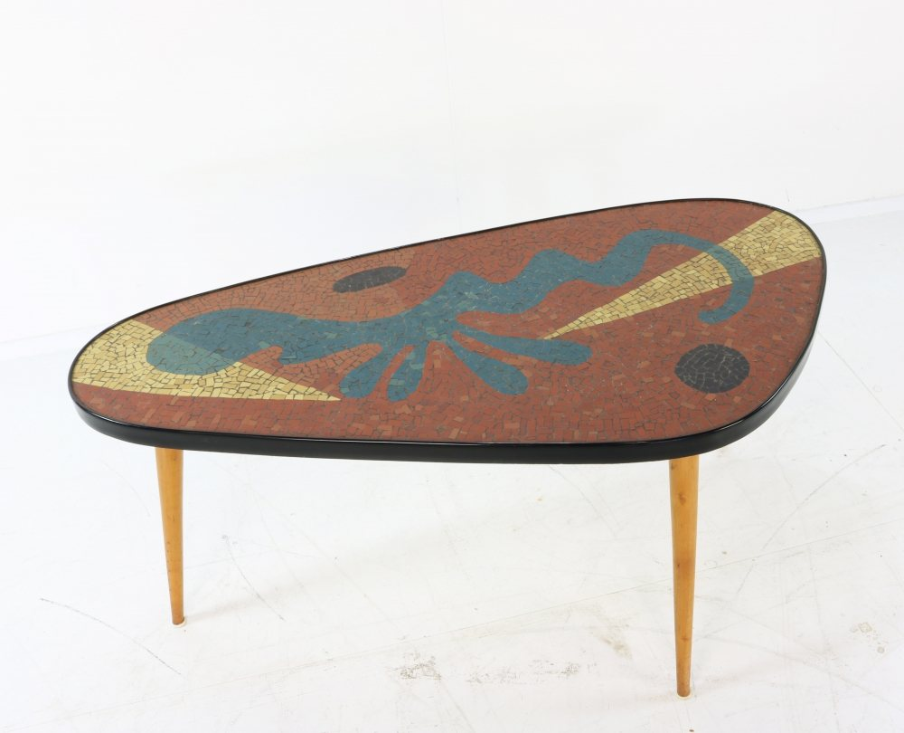 Coffee table with an incredible mosaic table top in the style of Miro / Matisse