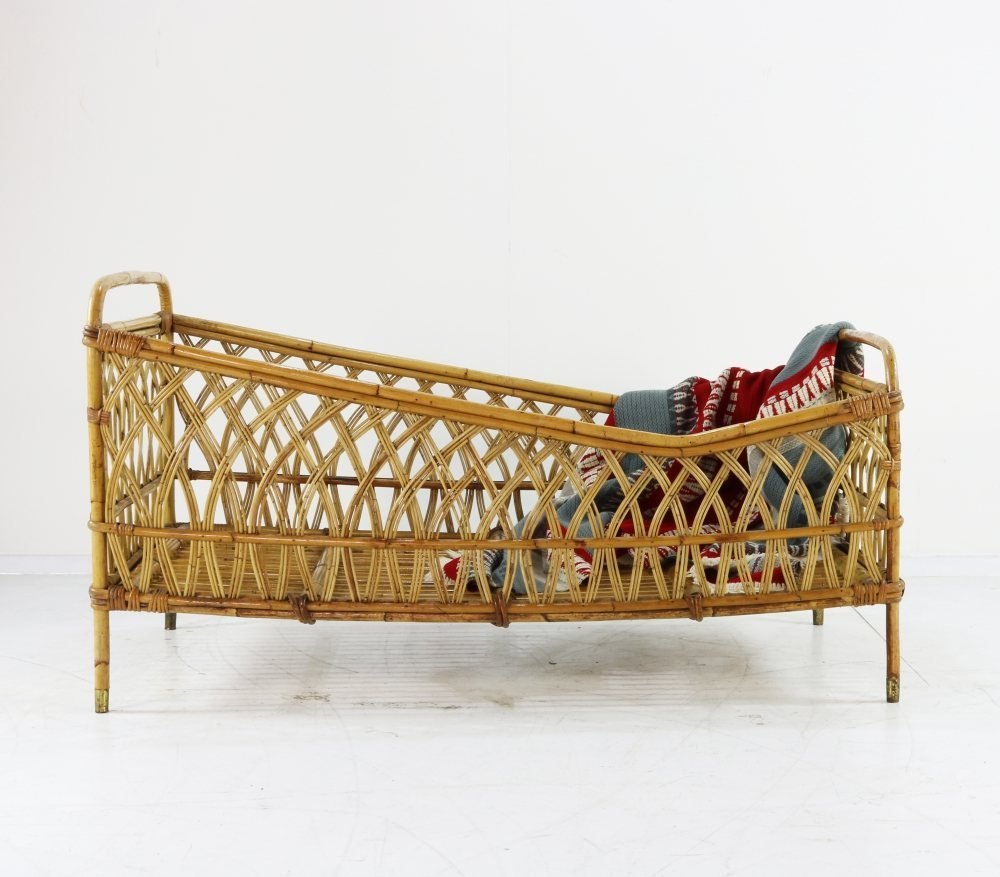 Typical sixties rattan children bed