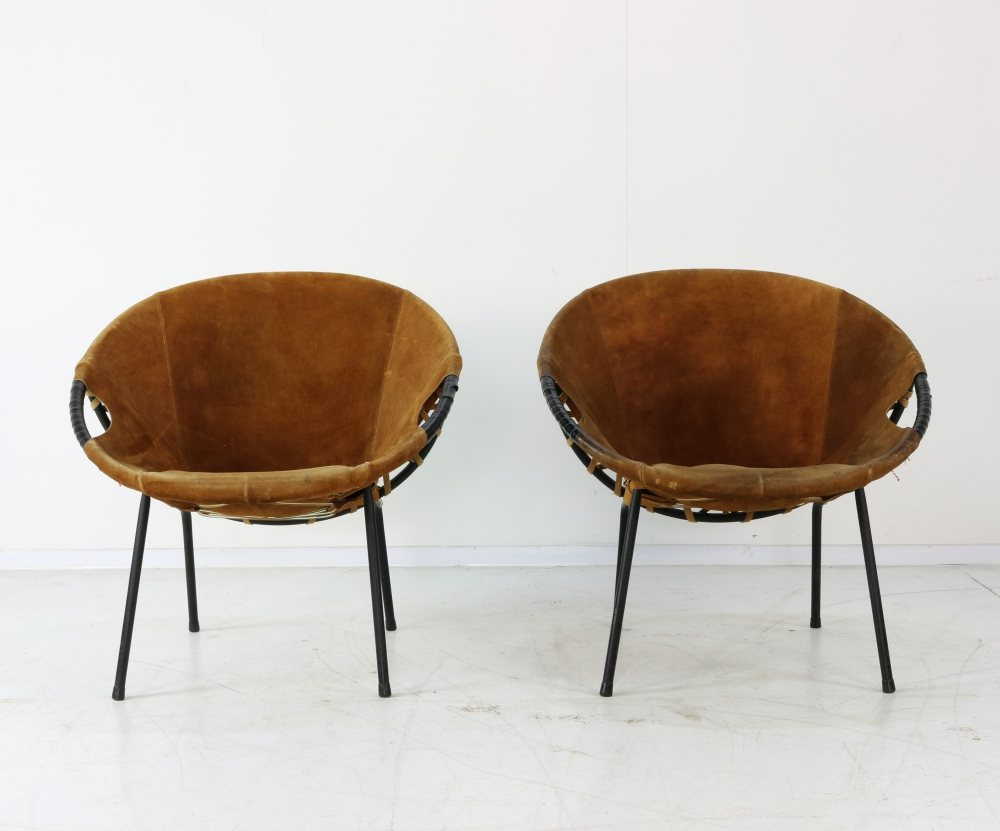 Set of two suede chairs
