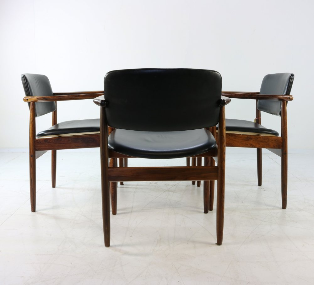 Set of four Danish design rosewood armchairs by Arne Vodder