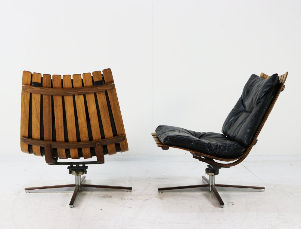 Set of two very scarce Hans Brattrud lounge chairs