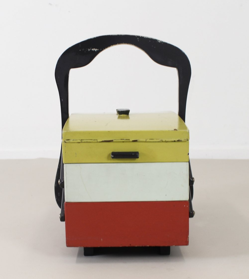 Nicely colored  German sewing box